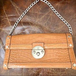 Michael Kors small brown crocodile texture bag